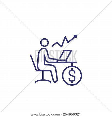 Financial Trading Line Icon. Man At Desk With Computer, Growth Chart And Dollar Coin. Finance Manage