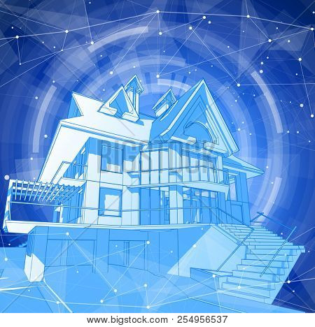 A modern house on a blue background surrounded by digital networks - an illustration of a smart eco-friendly home - the concept of modern information technology smart house or smart city
