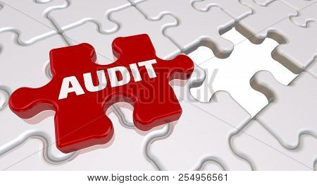 Audit. The Inscription On The Missing Element Of The Puzzle. Folded White Puzzles Elements And One R