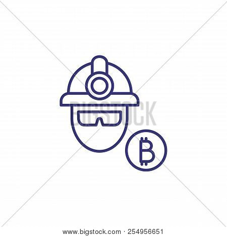 Miner Line Icon. Human Head In Miners Helmet And Bitcoin. Cryptocurrency Concept. Can Be Used For To