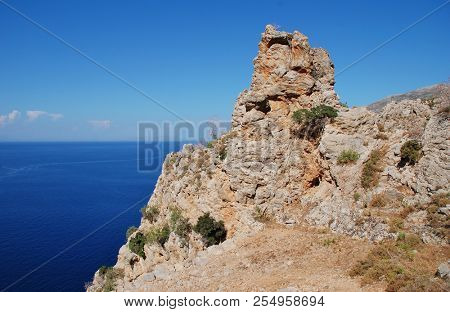 A rocky outcrop on the cliff top path from Livadia to Gera on the Greek island of Tilos.