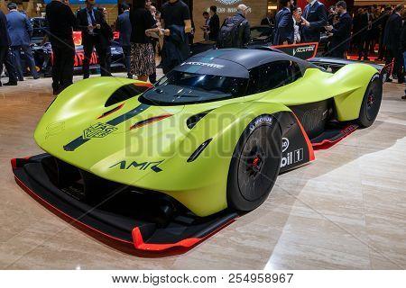 Geneva, Switzerland - March 6, 2018: Aston Martin Valkyrie Amr Pro Sports Car Showcased At The 88th