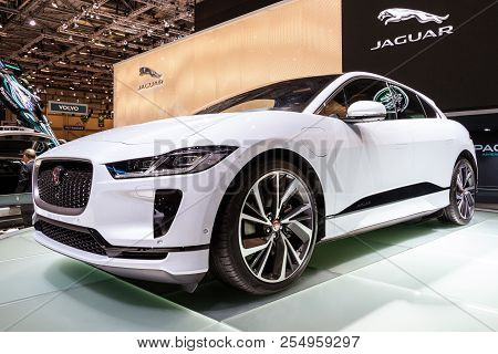 Geneva, Switzerland - March 6, 2018: Jaguar I-pace Electric Suv Car Showcased At The 88th Geneva Int
