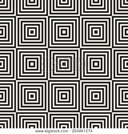 Vector Geometric Squares Seamless Pattern. Abstract Black And White Graphic Ornament With Lines, Str