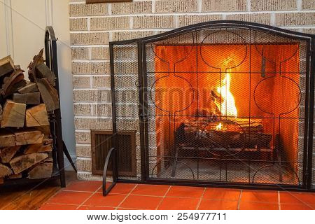 Real Wood Burning Fireplace With Flickering Flame