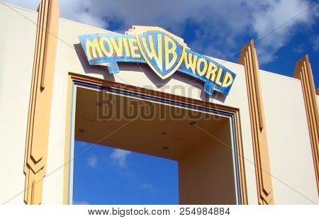 Gold Coast, Australia - April 16,2008: Sign At The Entrance To Movie World Theme Park, The Park Open