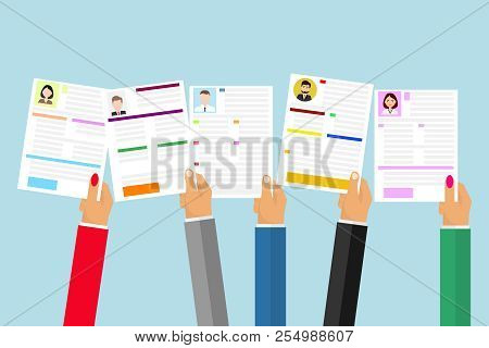 Hands Hold A Resume. The Concept Of Staff Selection. Search For The Desired Resume. Flat Design, Vec