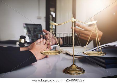Notary Consultant Concept , Focus Scale Of Law With Client Negotiation Or Discussion Lawyer Lawsuit