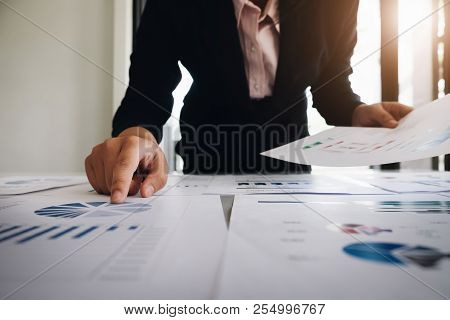 Business Research Budget & Stock Marketing, Businesswoman Analysis Stock Data Planning Document To E