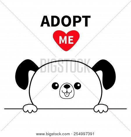 poster of Adopt me. Dont buy. Dog face head. Hands paw holding line. Pet adoption. Help homeless animal Cute cartoon puppy character. Funny baby pooch. Flat design. White background Vector illustration