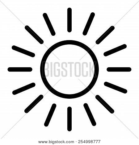 Sun Line Icon. Shining Sun Vector Illustration Isolated On White. Sun And Rays Outline Style Design,