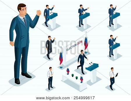 Isometrics Mr. President, Voting, Elections, Debate. Gestures Of Candidate, Slogans Of Men Of Busine