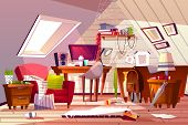 Messy room interior vector illustration. Cartoon garret or attic flat in clutter. Girl bedroom or living room thins in chaos, dust on furniture and scattered clothes on chair and bed or web in corner poster