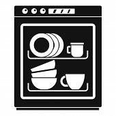 Dishwasher icon. Simple illustration of dishwasher icon for web design isolated on white background poster