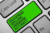 Handwriting text Proofread Spelling Grammar Accuracy. Concept meaning Grammatically correct Avoid mistakes Keyboard green key Intention create computer computing reflection document. poster