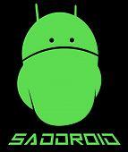 emo android, sad android minimalism creative logo poster