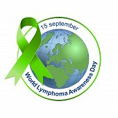 World Lymphoma Awareness Day. Green ribbon. Vector illustration on isolated background. 15 september poster
