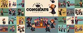 Congrats flat set. College composition consist of graduation class of 2019 students throwing caps girls and boys in gowns with diplomas graduates party vector illustration. poster