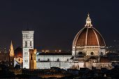 Night image of the Florence Cathedral, formally the Cathedral of Santa Maria del Fiore is the cathedral of Florence, Italy (Duomo di Firenze) horizontal image poster