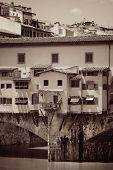Ponte Vecchio closeup in Arno River in Florence Italy in BW poster