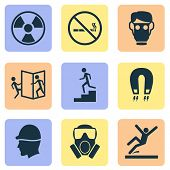 Sign icons set with toxic gas, beware of opening door, hat and other electromagnetic elements. Isolated vector illustration sign icons. poster