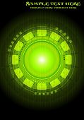 Green technical background with circles and squares poster