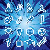 Vector illustration of icons on the topic of science poster