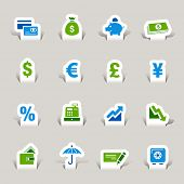 Paper cut - Finance icons poster