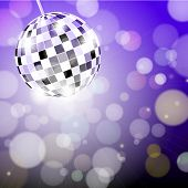 Abstract disco background with disco ball poster