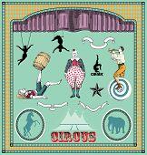 Vector set: vintage circus elements poster