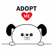 Adopt me. Dont buy. Dog face head. Hands paw holding line. Pet adoption. Help homeless animal Cute cartoon puppy character. Funny baby pooch. Flat design. White background Vector illustration poster