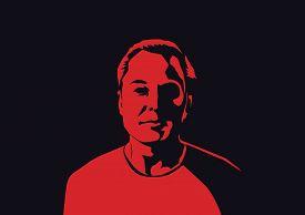 Aug, 2018: Famous Founder, Ceo And Entrepreneur Elon Musk Vector Portrait. Elon Musk Red Silhouette