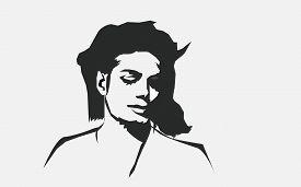 Aug, 2018: Michael Jackson Vector Isolated Portrait Stylized Illustration. Michael Jackson American