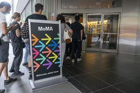 New York, Usa - May 26, 2018: People Visiting The Museum Of Modern Art Moma In New York City. It Is