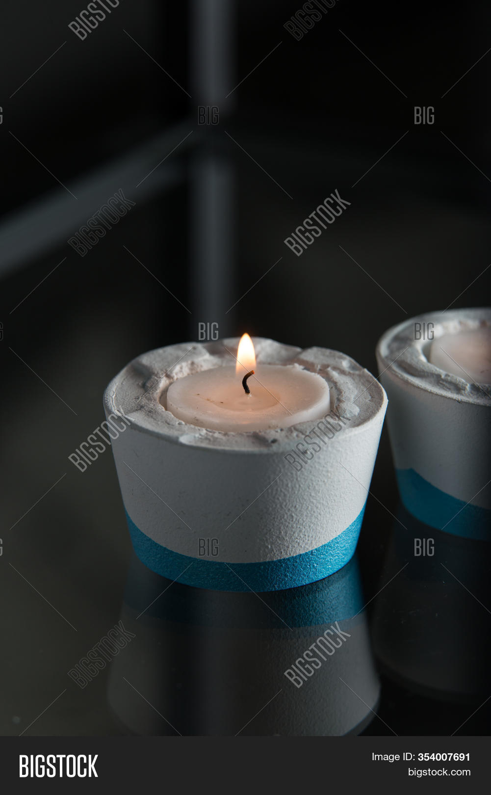 Two Candles White Blue Image Photo Free Trial Bigstock