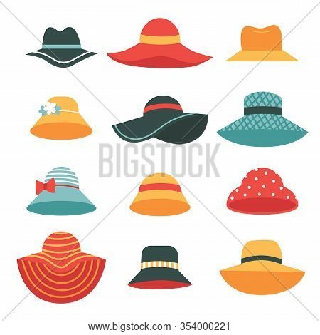Set Of Beautiful Womens Summer Hats.hats With Wide And Narrow Brims. A Fashion Accessory For A Vacat