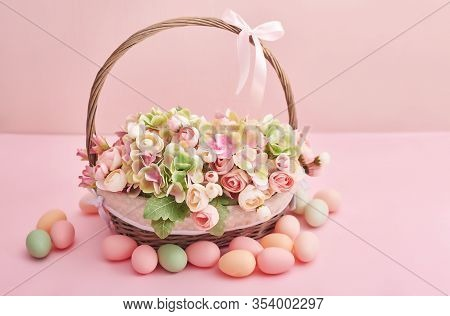 Spring Holiday Concept With Copy Space. Template Easter Greeting Card. Easter Eggs And Flowers . Eas