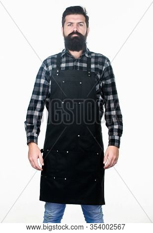 His Beard Works Well. Hipster With Long Beard And Mustache In Work Apron. Bearded Hipster Wearing Ba