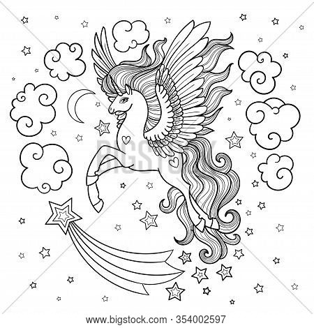 Cute Fairy Unicorn With A Long Mane. Black And White. Vector