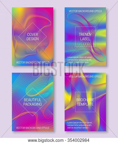 Vibrant Backgrounds For Cover Design Of Divergent Lines And Dots. Trendy Labels For Beautiful Packag