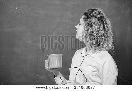 My Morning Coffee. School Teacher Need Coffee Break. Good Morning. Girl Refreshing With Drink. Woman