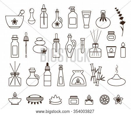 Aromatherapy Icon Set With Essential Oil Bottle