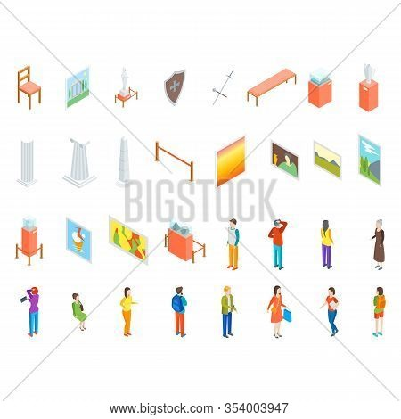 Museum 3d Icon Set Isometric View Include Of Column, Artifact, Picture, Visitor, Exposition And Excu