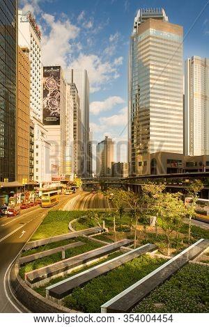 Hong Kong, China - November 15, 2008: Skyline Of Buildings At Connaught Road In Chung Wan (central D