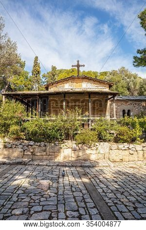 Church Of Agios Dimitrios Loumbardiaris At Filopappou Hill In Athens, Greece.