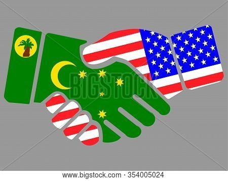 Cocos Islands And Usa Flags Handshake Vector Illustration Eps 10