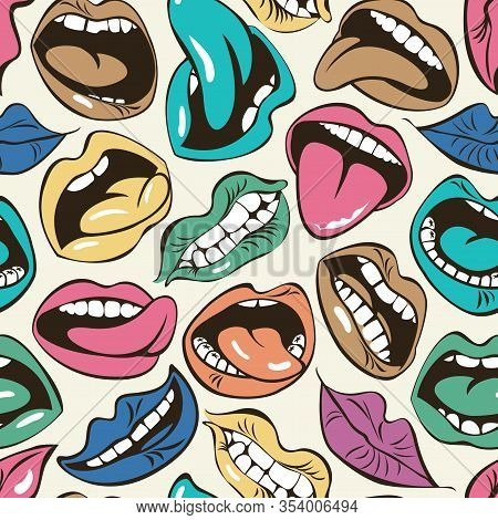 Vector Seamless Pattern With Colored Lips With Different Emotions. Woman Mouth With A Kiss, Smile, T