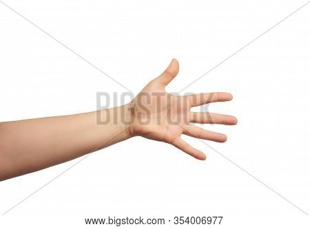 Outstretched Hand Of Man, Open Hand, Part Of The Body Isolated On White Background, Close Up