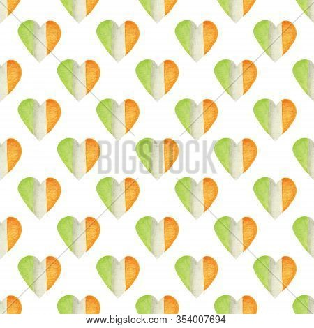 Seamless Pattern With Heart In The Colors Of The Irish Flag. Patriotic Irish Hearts. Background For