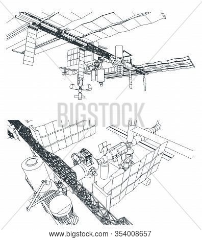 Stylized Vector Illustration On The Theme Of The Space Industry. Orbital Space Station From Differen